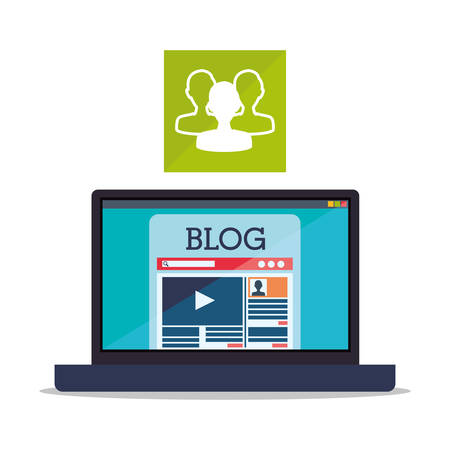 users video: Blogging concept with icon design, vector illustration 10 eps graphic. Illustration