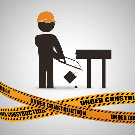 warning saw: Under construction concept with icon design, vector illustration 10 eps graphic.