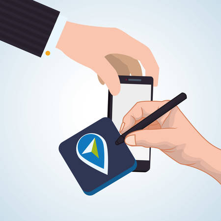 gps device: smartphone concept with icon design, vector illustration graphic. Illustration