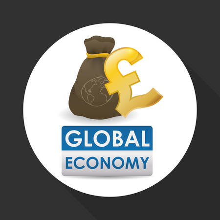 economic forecast: Global economy concept with icon design, vector illustration 10 eps graphic.