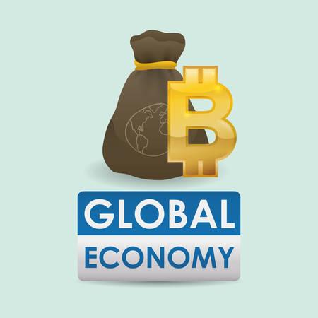 economic forecast: Global economy concept with icon design, vector illustration 10 eps graphic.