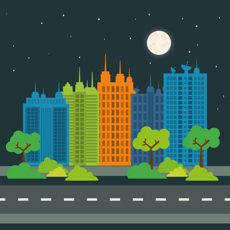 moon  metropolis: City concept with icon design, vector illustration graphic. Illustration
