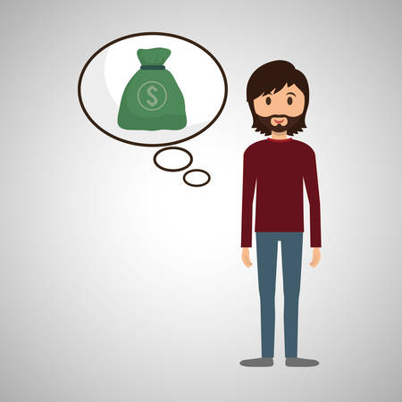 money management: Management concept with icon design, vector illustration, person with business and money icon Illustration