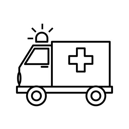 public health services: isolated emergency ambulance with shining siren and cross icon , Vector