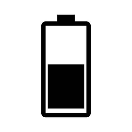 half full: battery half full flat icon design, charge measure , Vector
