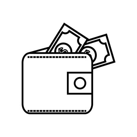 us paper currency: isolated wallet with cash money, dollar symbol illustration , Vector