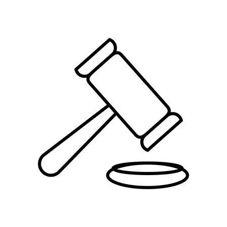 bidding: isolated justice gavel, hammer bidding linear design , Vector Illustration