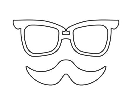 fashion glasses: Hipster style concept represented by fashion glasses and mustache  illustration, flat and isolated design