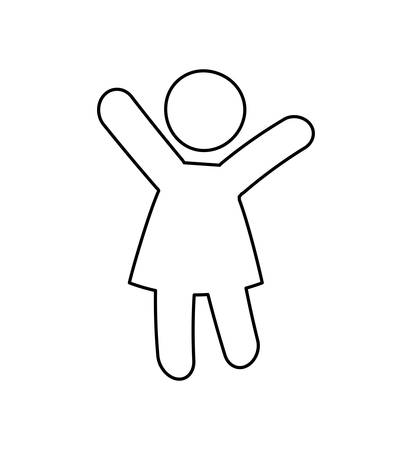 one person: Pictogram of one person, silhouette illustration, flat and isolted design Illustration