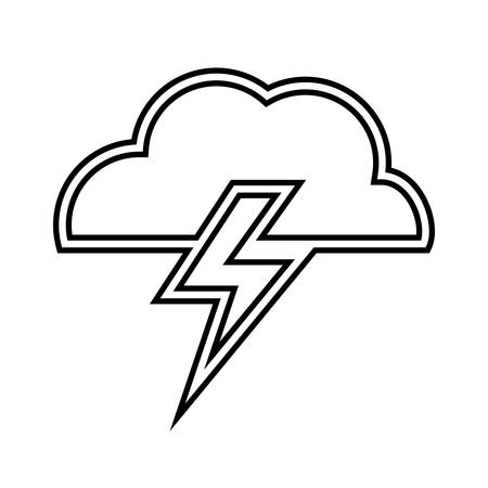 thunder cloud: Weather representated by simple cloud and thunder shape design over isolated and flat illustration