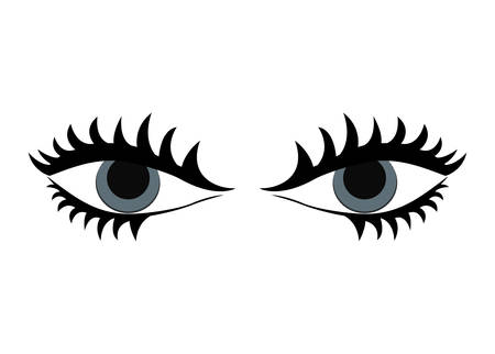 female eyes: Body part represented by female eyes over flat and isolated design Illustration