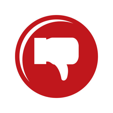 thumbs down: negative feeling concept represented by thumbs down icon over flat and isolated design