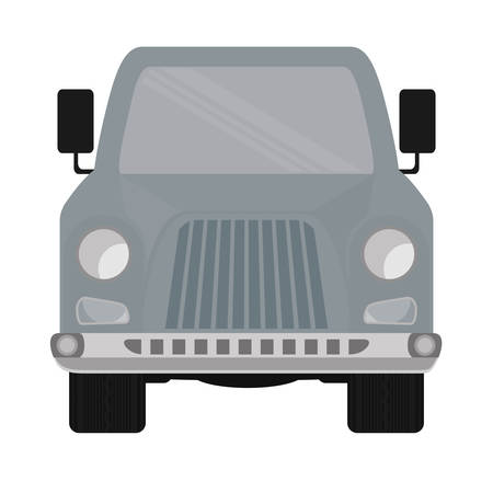 ahead: Grey Automobile ahead cartoon design over flat and isolated bakground Illustration