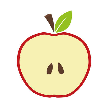 market gardening: Organic and healthy food represented by fresh apple fruit icon over flat and isolated design