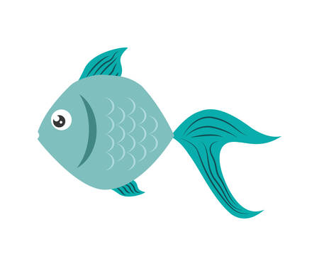 submerged: Sea life represented by cartoon fish over isolated and flat illustration Illustration