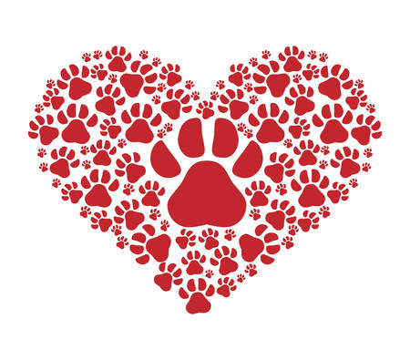 foot print: Animal and Pet love represented by dog foot  print over isolated and flat illustration Illustration