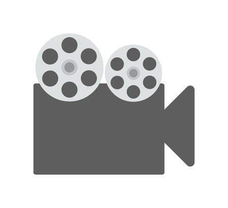 videocamera: Movie and Cinema represented by classic videocamera icon over flat and isolated background