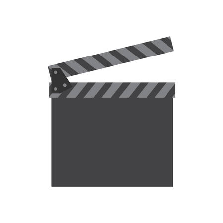 clapboard: Movie and Cinema represented by classic clapboard icon over flat and isolated background