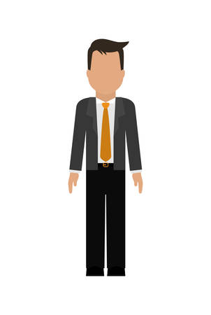 negotiate: Businessman represented by avatar male person over flat and isolated background Illustration