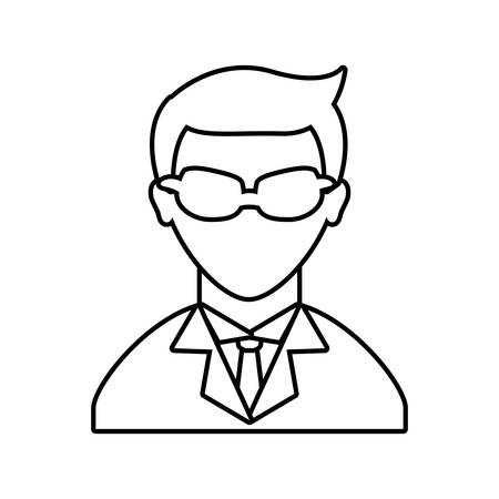 negotiate: Businessman represented by male person with glasses over flat and isolated background