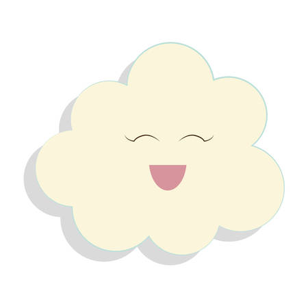 day forecast: Weather concept represented by cloud with cartoon face icon over flat and isolated background