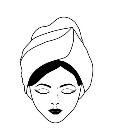 pampering: Spa center concept represented by face woman illuminate icon over flat and isolated background Illustration