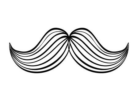 illuminate: barber concept represented by male mustache illuminate icon over flat and isolated background Illustration