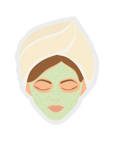illuminate: Spa center concept represented by face woman illuminate icon over flat and isolated background Illustration