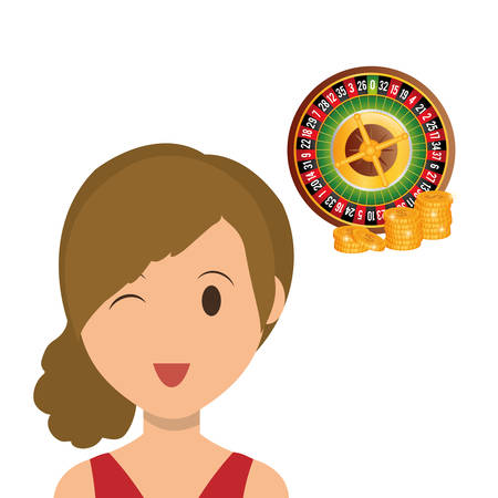 woman handle success: Casino concept with icon design, vector illustration 10 eps graphic.