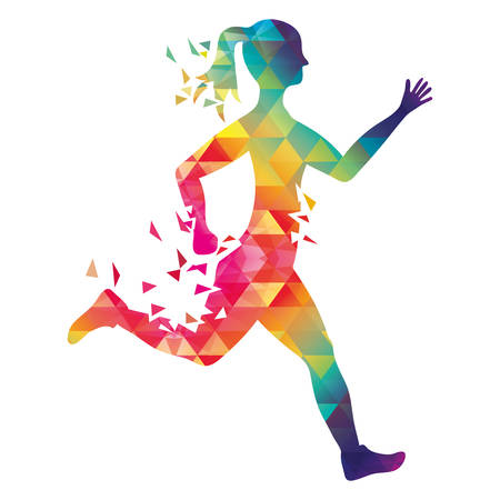 sport woman: Running represented by woman of side, polygonal figure design over isolated and flat illustration