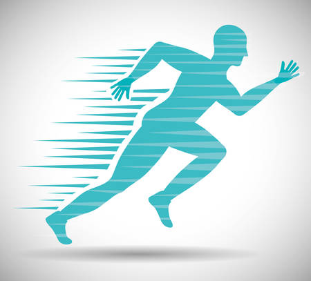 Running represented by man of side figure design over isolated and flat illustration Illustration