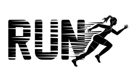 Correr representado por la mujer del diseño de la figura lateral sobre ilustración y plana Ilustración de vector