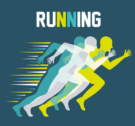 Running represented by man of side figure design over blue and flat illustration