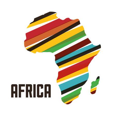 Afrique représentée par sa propre conception de la carte sur isolé et plat illustration