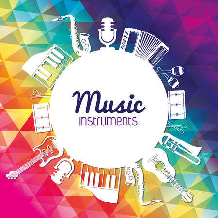 Music instrument concept represented by icon set in circleo ver flat and multicolored polygonal background