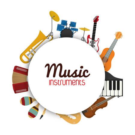 평평 하 고 고립 된 배경 위에 원으로 설정하는 아이콘으로 표시하는 음악 악기 개념