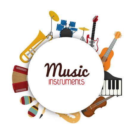 Music instrument concept represented by icon set in circle  over flat and isolated background Çizim