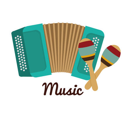 maraca: Music instrument concept represented by accordion and  maraca icon over flat and isolated background Illustration