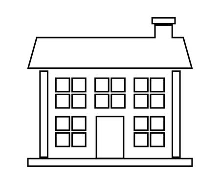 windows home: Family home represented by traditional house with door and windows design, isolated and flat illustration