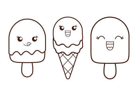 frozen treat: Silhouette Ice cream dessert with happy cartoon face over isolated and flat illustration