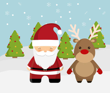deer cartoon: Merry Christmas holidays concept represented by Santa and deer cartoon icon over flat and isolated background