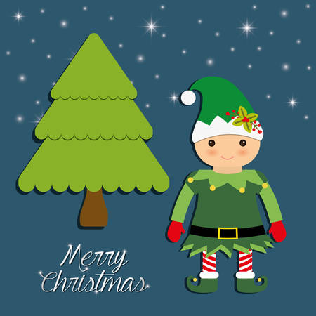 elf cartoon: Merry Christmas holidays concept represented by elf cartoon and pine tree icon over flat and isolated background Illustration