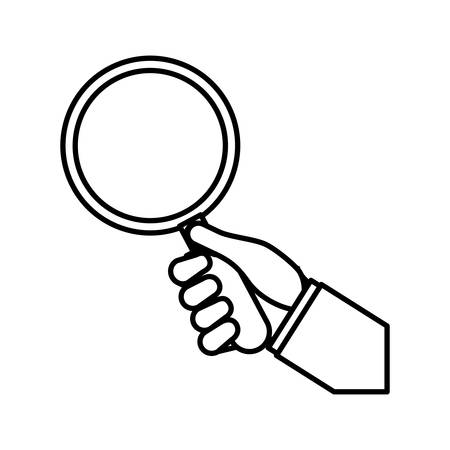lupe: Search and looking concept represented by lupe and hand icon over flat and isolated background Illustration