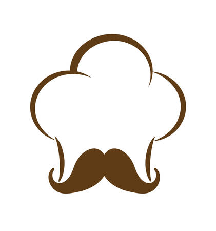 consume: Food concept represented by chefs hat with mustache icon over flat and isolated background