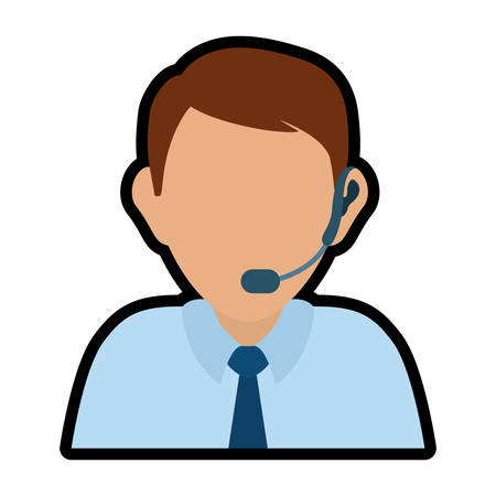 receptionists: Customer service and call center concept represented by operator man avatar with headphone over flat and isolated background