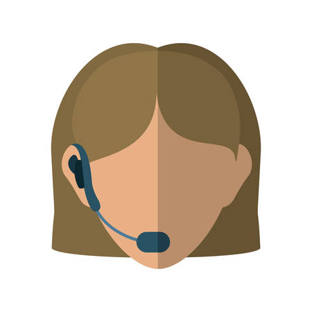 communicator: Customer service and call center concept represented by operator woman avatar with headphone over flat and isolated background Illustration