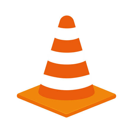 reconstruction: Under Construction concept represented by striped cone icon over flat and isolated background Illustration