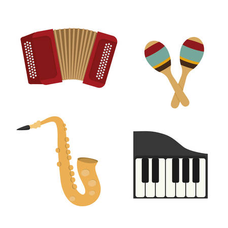 maraca: Music instrument concept represented by accordion,piano,  maraca and saxophone icon over flat and isolated background Illustration