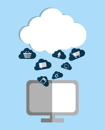 Cloud computing and hosting design with multimedia icons, vector illustration. Illustration