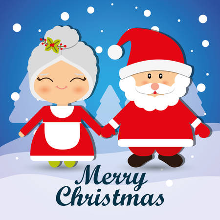 vector cartoons: Merry christmas with lovely cartoons graphic design, vector illustration.